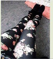 Женские джинсовые леггинсы New Brand Winter Warm Floral Leggings Faux Denim Elastic Skinny Rose Pants AC16