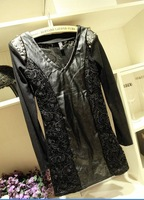 Женское платье 2013 New Fashion Slim Punk Lace Patchwork Rivet Long-sleeve Leather One-piece Dress, RD442