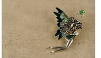 Fashion Elegant Rhinestone Butterfly Fairy Brooch Exquisite women Jewelry Min.order is $15 (Mix order)
