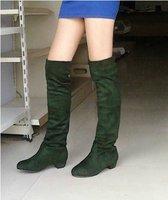 Женские ботинки Autumn and Winter new Korean version of stretch velvet matte jackboot high boots low-heeled