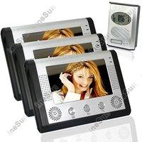 Видеодомофон 3 in1 Video Door bell Door phone Intercom System 3pcs 7Color Monitor IR Camera
