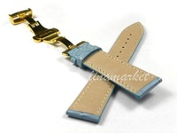 Ремешок для часов 22mm Top GOLD Double click Butterfly buckle Blue Crocodile pattern Genuine Leather Watchbands BANDS Strap S101G