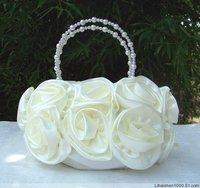 Клатч ladies ivory bridal Satin Rose Clutch Wedding Party Handbag evening flower bag