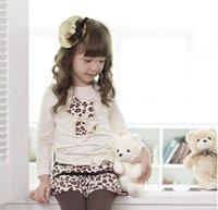 Fress Доставка 5 шт/много baby платье костюм 2шт наборы leopard cat t рубашки Топы + леопард юбки леггинсы брюки