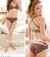 Free shipping Lovely sexy underwear cross back before plunging back the bra clasp deep V + pants suit gathered