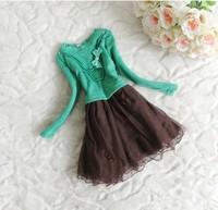 Платье для девочек 2013 Autumn Winter Baby Dress Girls Lace Dress Beaded Butterfly Knot Veil Dress Children Clothing 4pcs/LOT