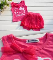 Комплект одежды для девочек 2013 New 2pcs Hello kitty Summer baby girls suit cute lovely kid wear, 2-7 years old 5 sets/lot
