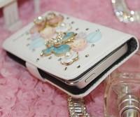 Чехол для для мобильных телефонов butterfly pearl and stone leather wallet mobile-phone case for Iphone 4/4S/5