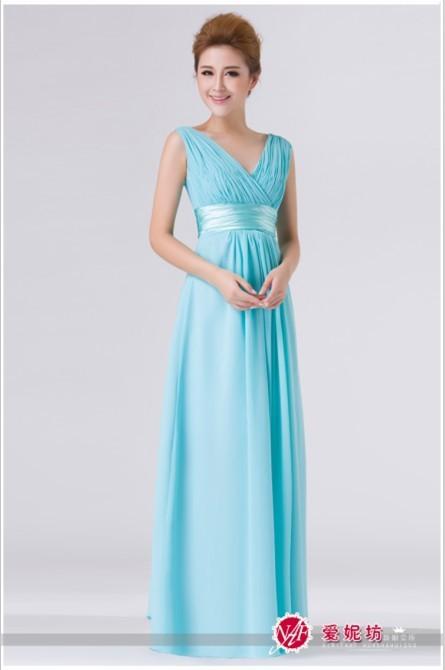 2014  V - образный вырез Double-Плечи Simple Сплошной Длинный Evening Dress Шифон Prom Party Dress Drop