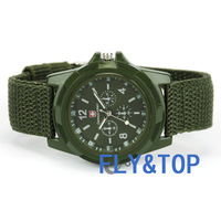 HK POST 5PCS/lot Cool Summer,GREEN Color Military Army Pilot Fabric Strap Sports Men's BOY LED WATRE REST Swiss Military Watch