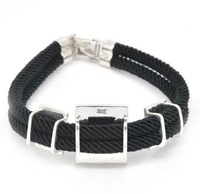 Hot Sell! Genuine 100% 925 Sterling Silver Fashion Square Black Agate Imported Rope Bracelets USD