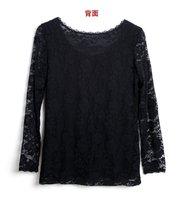 Женская футболка 2012 new fashion sexy Women net-yarn Jacket Lady Long sleeve T-shirt Pierced Lace Bottoming shirt Chiffon clothing
