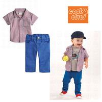 Комплект одежды для мальчиков 2013 New Summer 2-pcs Plaid baby boy kids clothing sets, 5 sets / lot