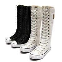 Женские ботинки new/hotLady Girl's Canvas Boots fashion women Sneaker women's canvas shoes size 35-39White/Black/red Four Seasons