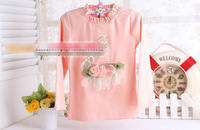 Блузка для девочек 5pcs/lot girls autumn turtleneck flower blouse kids beautuful swan veil tshirt 861