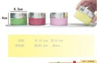 Перечницы, Баночки для специи 5 sets/lot New Colorful Castot Salt Pepper Condiments Cases Bottles Scan Container With Base