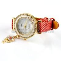 Наручные часы Classic with diamond Round Dial Heart Edge wrist watch With Flower Pendant for women