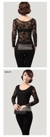 Женская футболка 2012 new fashion sexy Women net-yarn Jacket Lady Long sleeve T-shirt Pierced Lace Bottoming shirt Chiffon clothing