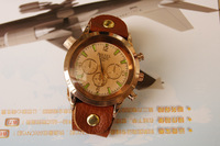 Наручные часы New Fashion Men Round Dials Rose Gold Genuine Cow Leather Button Design WristWatch