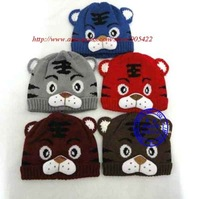 MOQ 1pcs free shipping 7 color  Children's Knitted Warm baby tiger hat MB010p
