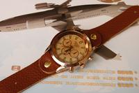 Наручные часы New Fashion Men Round Dials Rose Gold Genuine Cow Leather Button Design WristWatch