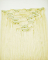 "20""7pcs 100% HUMAN HAIR CLIP IN EXTENSION #613,32""wide&80g& free shipping"