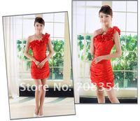 Women's Fashion Princess Wrinkle Wedding Gown/Wryshoulder Bridesmaid Dress/Bridal Gown