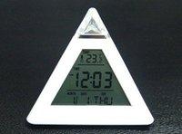 free shipping Pyramid Digital Alarm Clock thermometer color Light C11