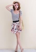 Women cotton Pleated Short Skirt Printed Butterfly Skirt Elastic Waist all match Mini Skirt  Free Shipping 3 colors 077
