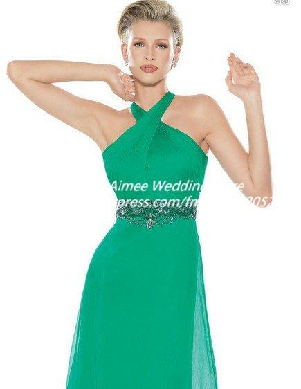 зеленое шифоновое платье