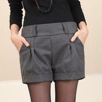 Женские шорты 2013 autumn winter warm thickening loose plus size mid waist boot cut woolen shorts
