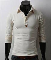 Мужская футболка 2012 HOT SALE SPRING Slim Men's POLO shirt long-sleeved T shirts Colors navy ivory and dark gray