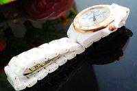 Наручные часы Luxury Women Digital Analog Quartz Watch White Ceramic Band Golden Round Dial Wristwatches W119