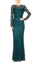 Star of the same paragraph 2013 new luxury ladies long section of lace embroidered dress Banquet evening wear
