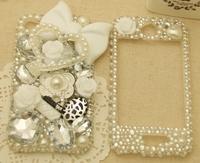 Чехол для для мобильных телефонов Luxury OL white bow diamond bling case for iphone 4/4s/4g