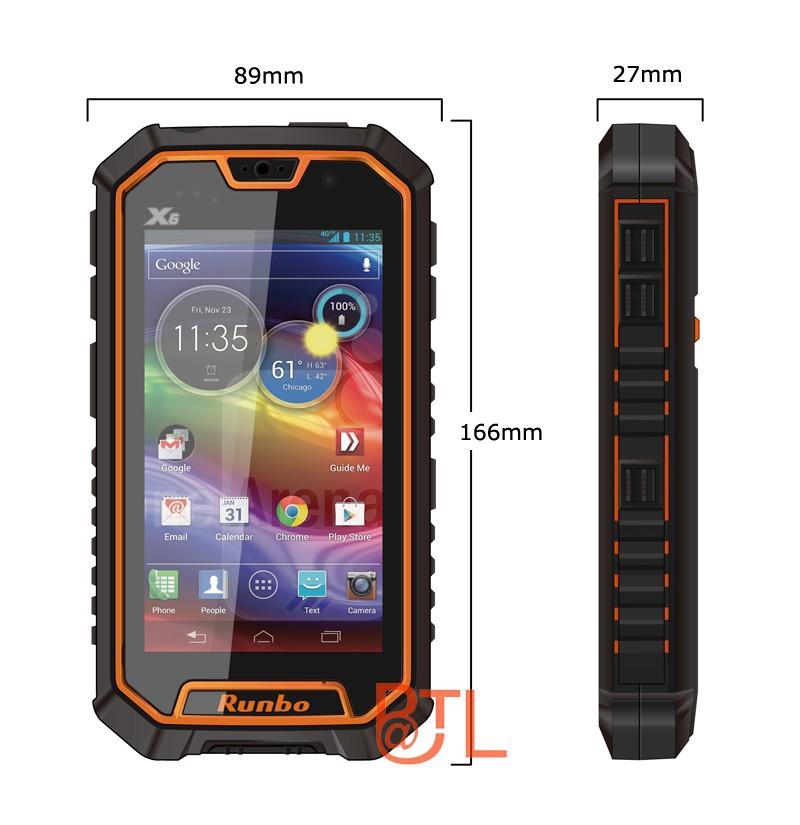 Runbo X6 IP67 Quad Core MTK6589T walkie-talkie 13MP dual camera 2G+16G NFC waterproof smartphone ip67