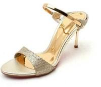 Корейский стиль 9 см & 7 см пятки женщина с блестками ткань высоких каблуках сандалии дамы простые летние насосы богемного обувь свободный корабль