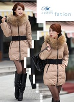 Женские пуховики, Куртки Luxury fur collar slim thickening medium-long female down coat cotton-padded size S M L X XXL XXXL