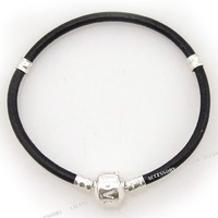 Браслет из бусин 3X Fashion Black Leather Bracelet Fit European Charms Bracelet 19cm 150699