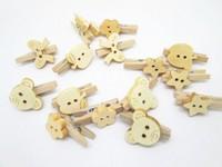 100pcs/lot  25mm Natural Mini Wooden Mixed Cartoon Clothespins Clothes Pins Wood Clothespins For Scrapbooking&Papercrafting