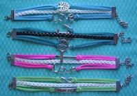 Браслет 12pcs/lot Handmade Braided Leather Bracelet Vintage Alloy Ship Anchor Bracelet Infinity Bracelet Karma Bracelet