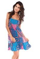 Женская туника для пляжа Sweet Colorful Floral Printing Off Shoulder Elastic Chiffon Cover-up Dear Lover Beach Dress Blue