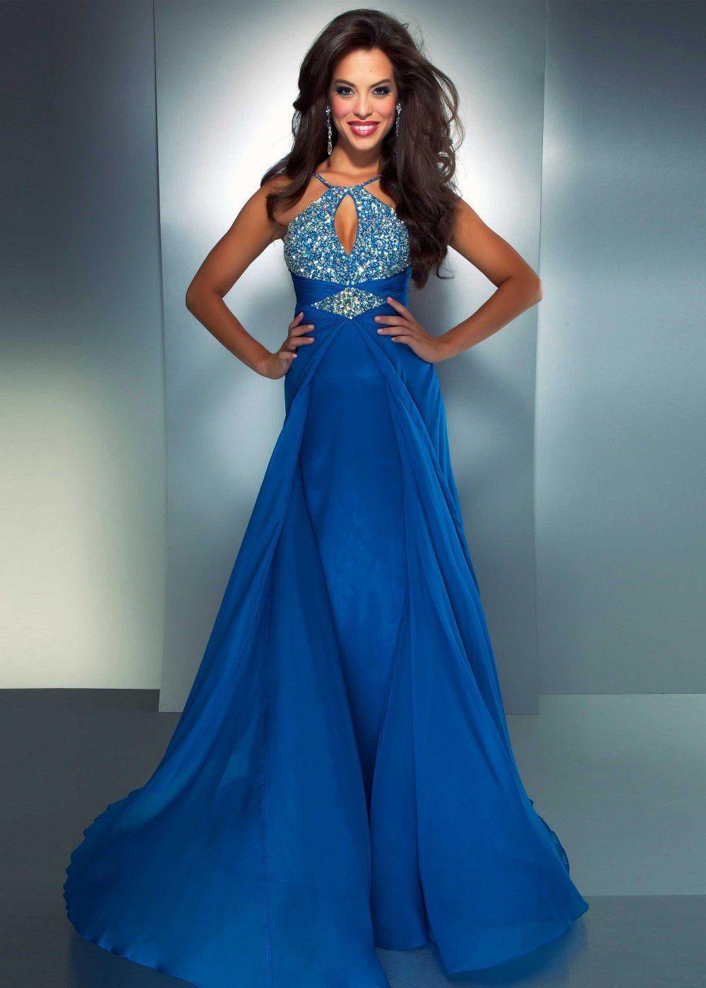 Blue halter neck prom dresses - Prom dress style