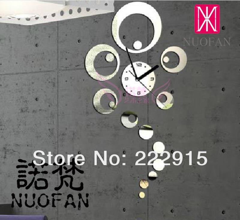 3d wall clock home decoration diy crystal mirror surfac