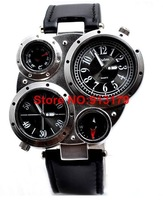 Наручные часы Unique Design Skeleton 2 Time-zone Mens Military Watch GMT Two Places