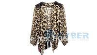 Женская куртка Korean Women Sexy Leopard Chiffon Coat Sleeve Cardigan jacket Fashion Top Blouse