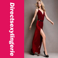 Женское платье Sexy Fashion Women's Contrasting Reds Maxi Long Dress Graceful Gown Front Slit for Leg Movement LC6129