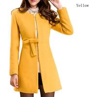 Женская одежда из шерсти NEW Women Slim woolen coat buckle Autumn Winter Faux Cashmere Coat Outerwear