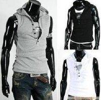 Мужская футболка men sleeveless hoody summer male slim sleeveless T-shirt all-match hoody solid color slim t-shirt