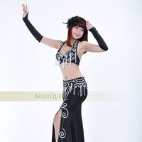 Женская одежда 710# Professional Belly Dance Costume with Beads 2Pcs Bra&Skirt 6Colors In Stock 100%Handmade